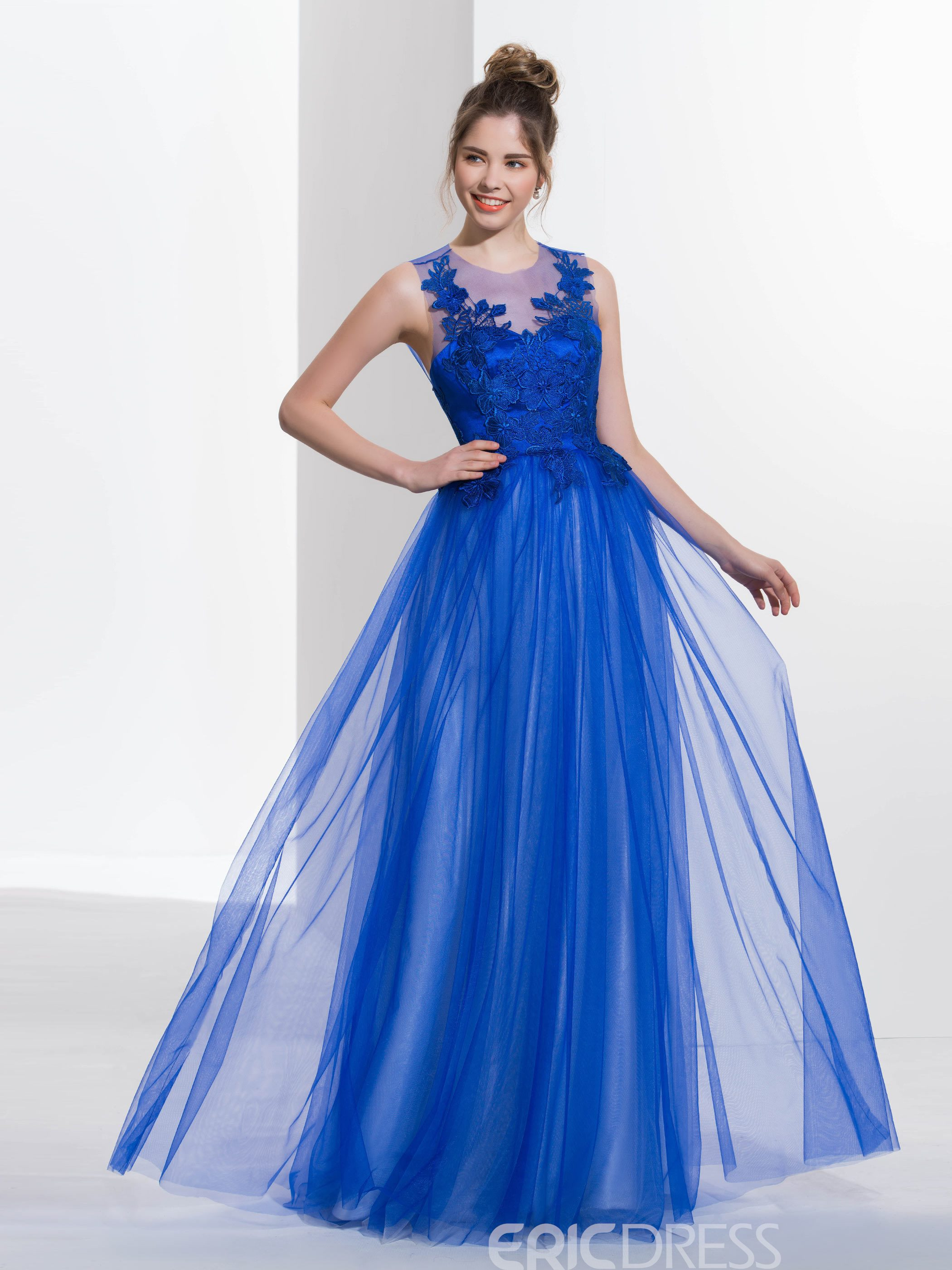 Ericdress A-Line Scoop Appliques Backless Long Prom Dress