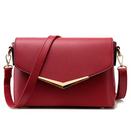 Ericdress Solid Color Metal Decorated Crossbody Bag