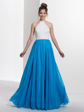 Ericdress A-Line Halter Draped Floor-length Prom Dress