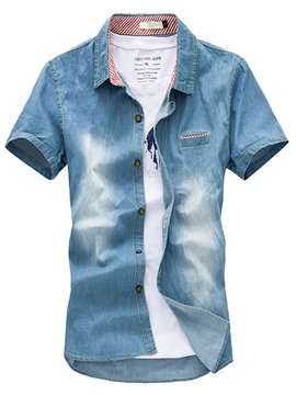 Ericdress Short Sleeve Worn Casual Men's Denim Shirt