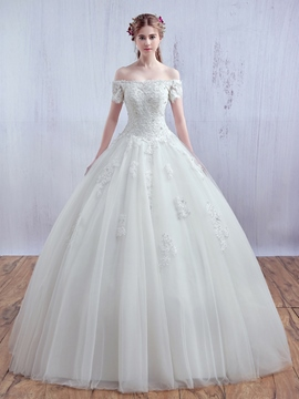 Ericdress Modest Off The Shoulder Ball Gown Princess Wedding Dress