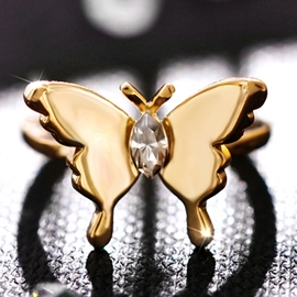 Golden Crystal Butterfly Opening Ring