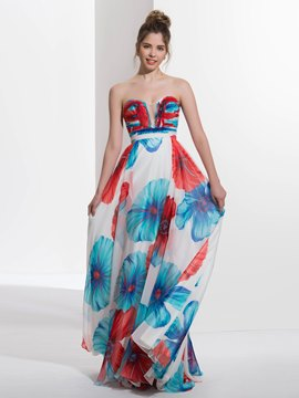 Ericdress A-Line Sweetheart Printed Sweep Train Prom Dress