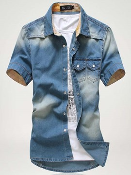 Ericdress Short Sleeve Casual Men's Denim Shirt