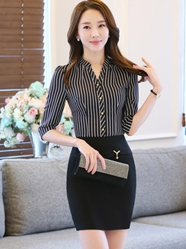 Ericdress OL Elegant Stripe Blouse Suit