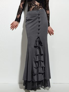 Ericdress Solid Color Patchwork Lace-Up Maxi Skirt