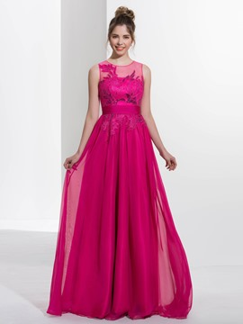 Ericdress a-Line Juwel Applikationen Pailletten Sweep Zug Abendkleid