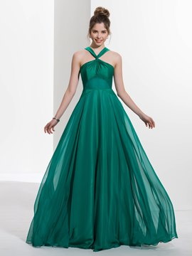 Ericdress Halter A-Line Pleats Brush Train Prom Dress