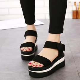 Ericdress Open Toe Velcro Plain Ankle Strap Platform Sandals