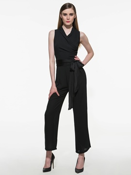 Ericdress Simple Elegant Lace-Up Jumpsuits Pants