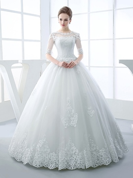 Ericdress Appliques Beading Ball Gown Wedding Dress