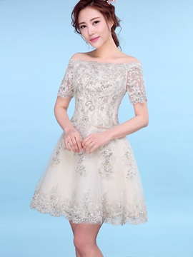 Ericdress a-line Off-the-Shoulder kurze Ärmel Applikationen Pailletten Mini Homecoming Kleid