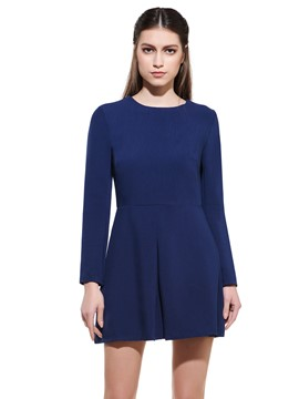 Ericdress Plain Round Neck Wool Blends Casual Dress