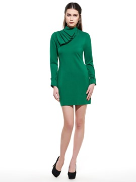Ericdress Patchwork Falbala Stand Collar Bodycon Dress