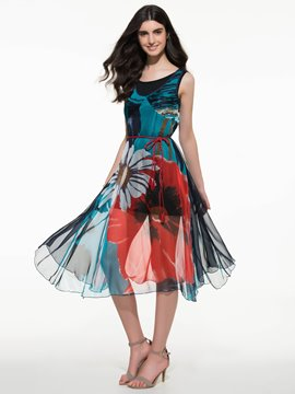 Ericdress Floral Print Patchwork Sleeveless Maxi Dress