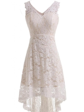 Ericdress Lace V Neck Beach Asymmetry Reception Wedding Dress