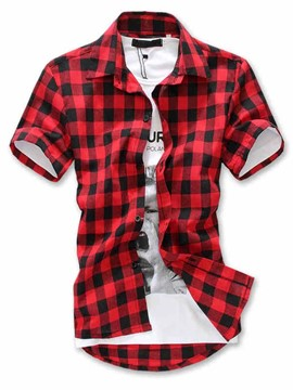 Ericdress Lapel Plaid Cotton Blends Short Sleeve Men's Shirt