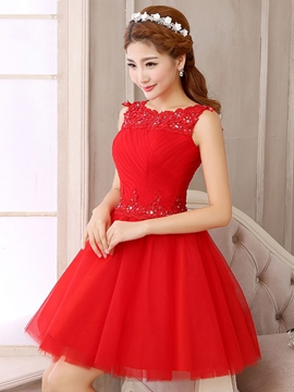 Ericdress a-ligne Scoop perles dentelle plis court Homecoming robe