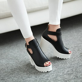 Ericdress Peep Toe Buckle Platform Chunky Sandals