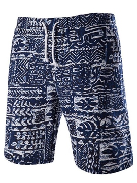 Ericdress Lace-Up Print Beach Look Casual Men's Shorts