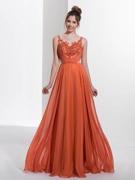 Ericdress a-line Scoop Applikationen Friesen Falten lange Prom Kleid
