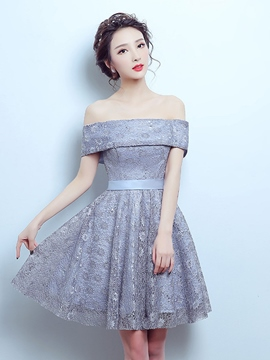 Ericdress A-Line Off-the-Shoulder Bowknot Lace Sashes Knee-Length Homecoming Dress