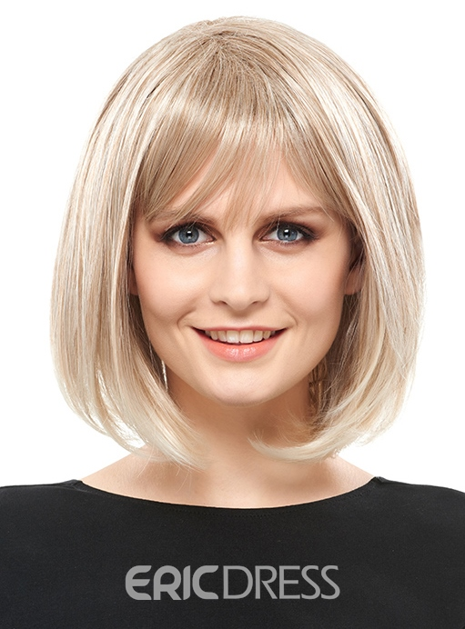 Ericdress Elegant Medium Straight Capless Blonde 12 Inches Synthetic Hair Bob Wig 12810206