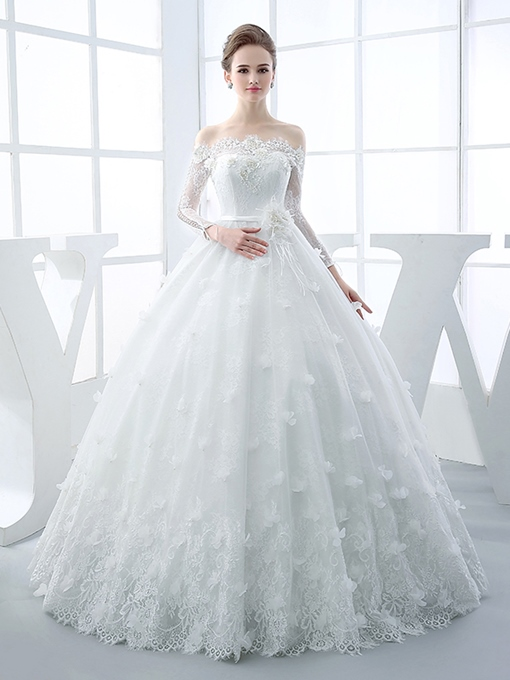 Ericdress 3D Floral Beading Long Sleeves Ball Gown Wedding Dress