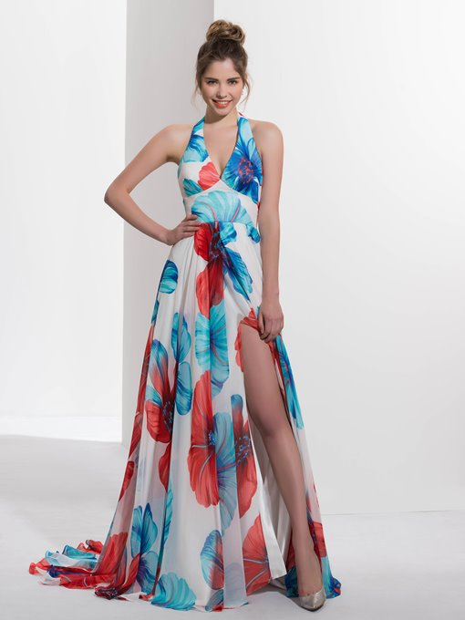 Ericdress A-Line Halter Printed Split-Front Brush Train Prom Dress