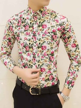 Ericdress Long Sleeve Floral Print Slim Men's Shirt