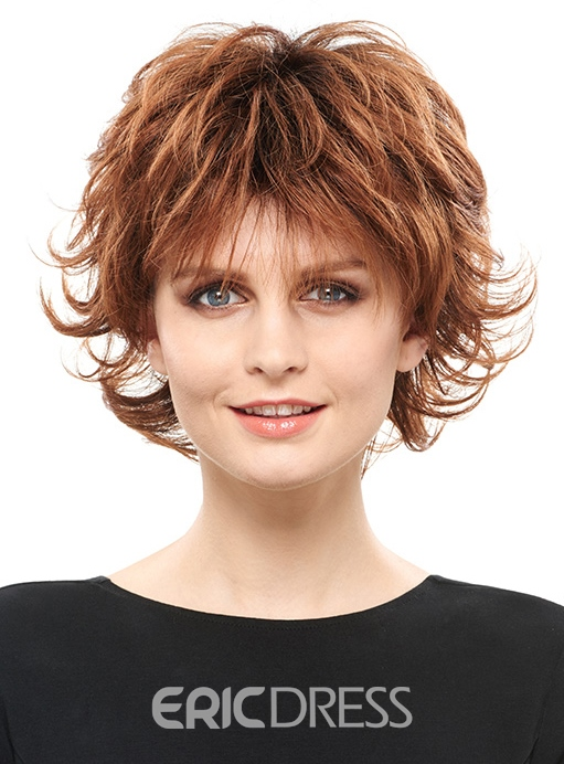 Ericdress Fluffy Layered Short Straight Synthetic Hair Capless Wig 8 Inches 12810205