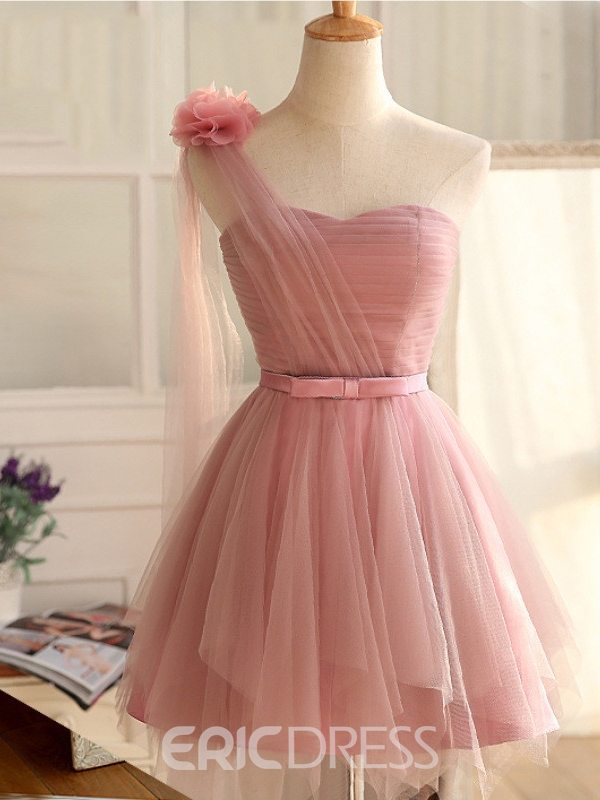 Ericdress A-Line One-Shoulder Bowknot Pleats Sashes Short Homecoming Dress