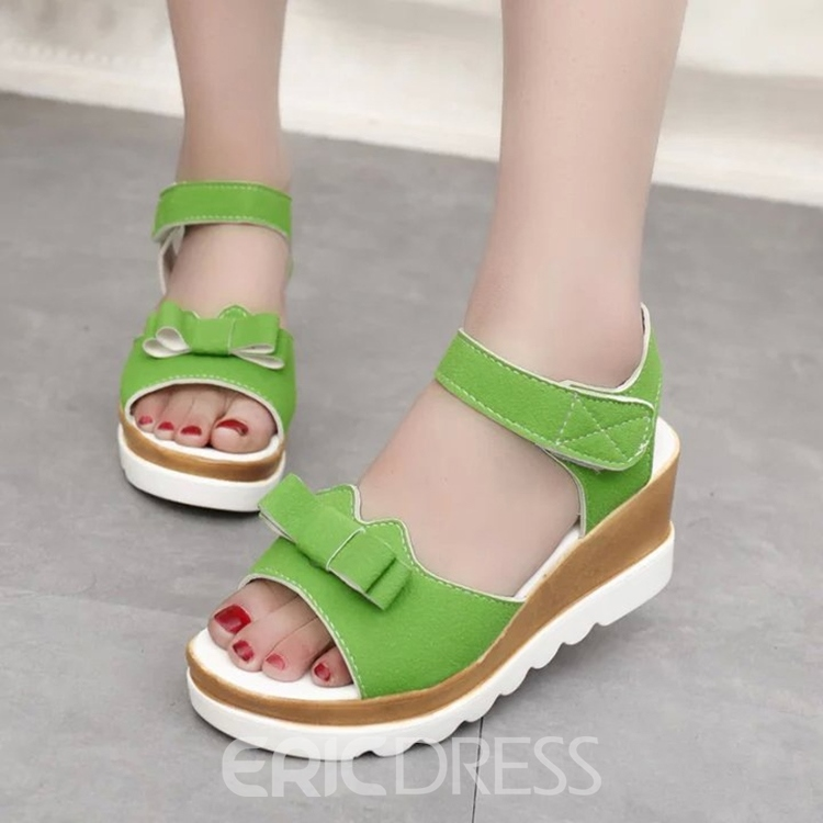 Ericdress Candy Color Bowtie Flat Sandals 12151475