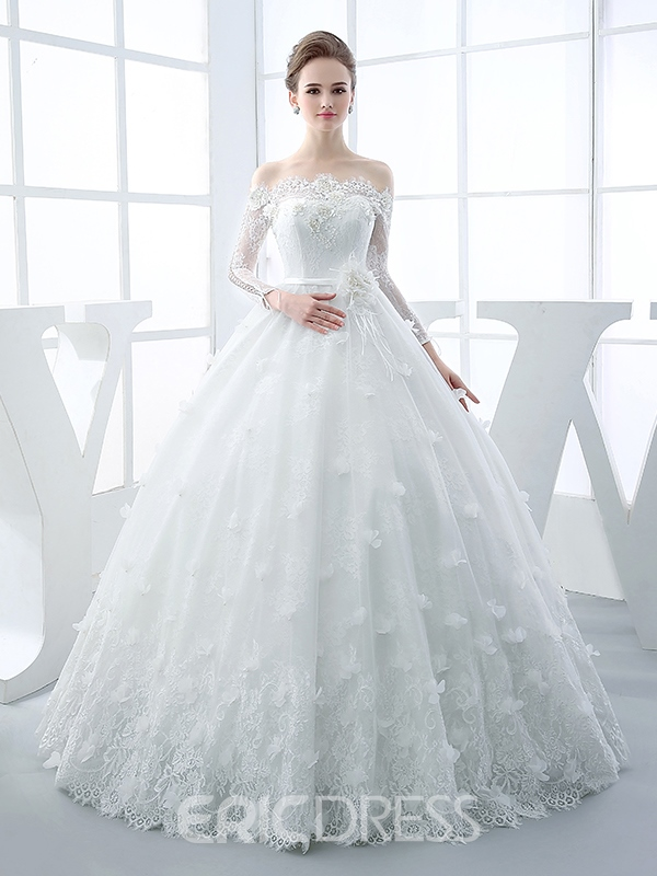 Ericdress Stunning Off-The-Shoulder Long Sleeves Lace Ball Gown Wedding Dress
