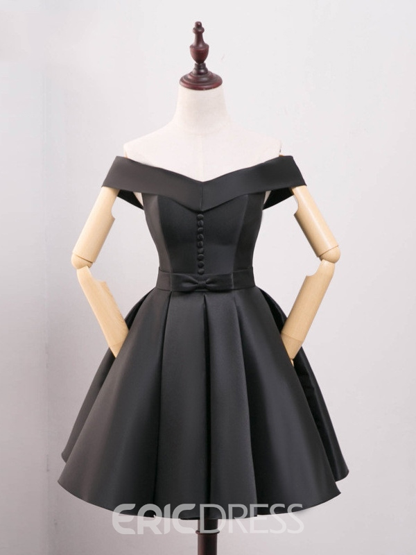 Ericdress A-Line Off-the-Shoulder Bowknot Button Pleats Short Homecoming Dress