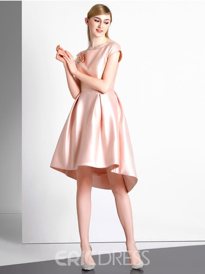 Ericdress A-Line Bateau Pleats Flowers Crystal Asymmetry Homecoming Dress