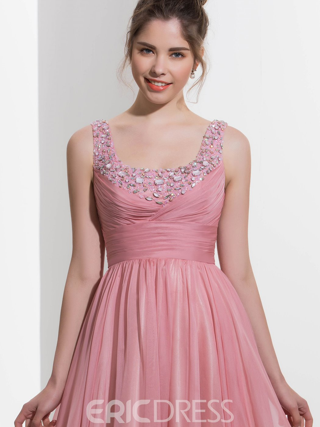 Ericdress A-Line Square Beading Draped Sweep Train Prom Dress