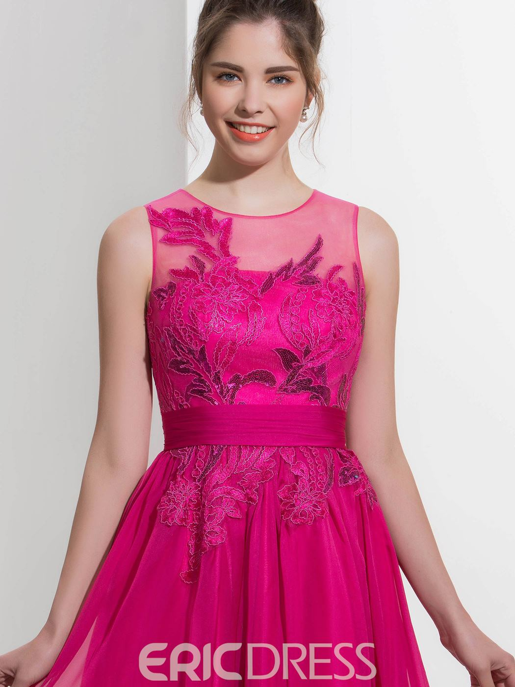 Ericdress A-Line Jewel Appliques Sequins Sweep Train Prom Dress