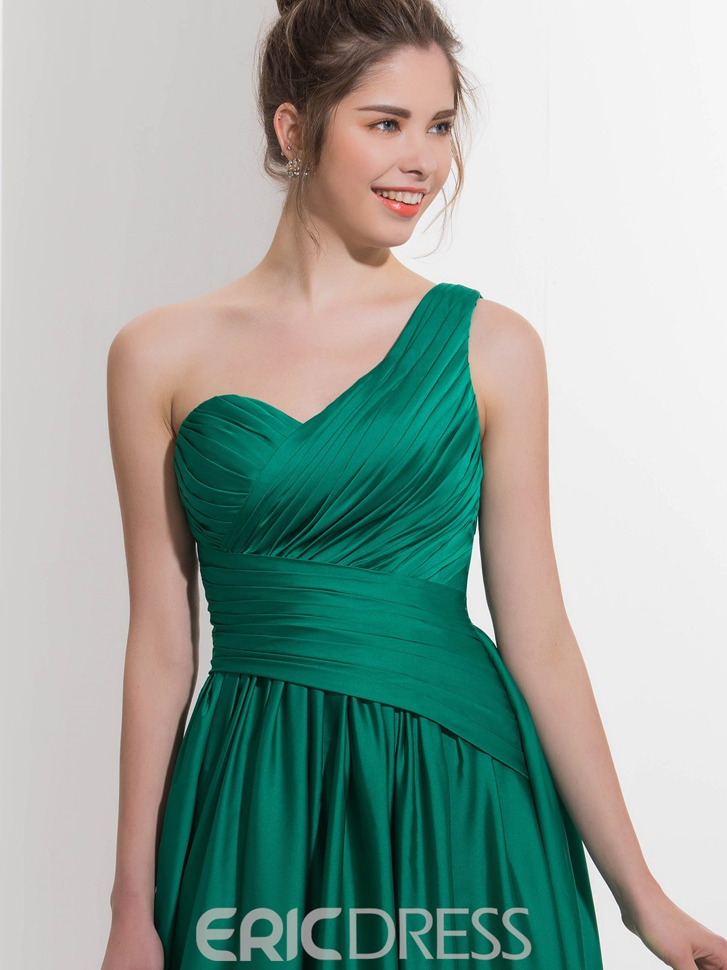 Ericdress One-Shoulder A-Line Pleats Sequins Sweep Train Prom Dress