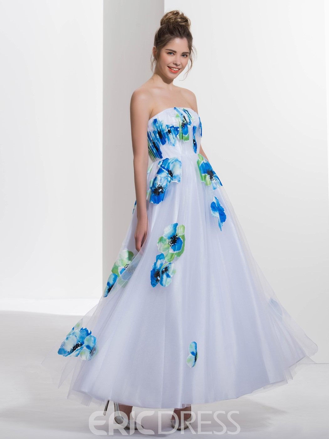 Ericdress A-Line Strapless Printed Long Prom Dress