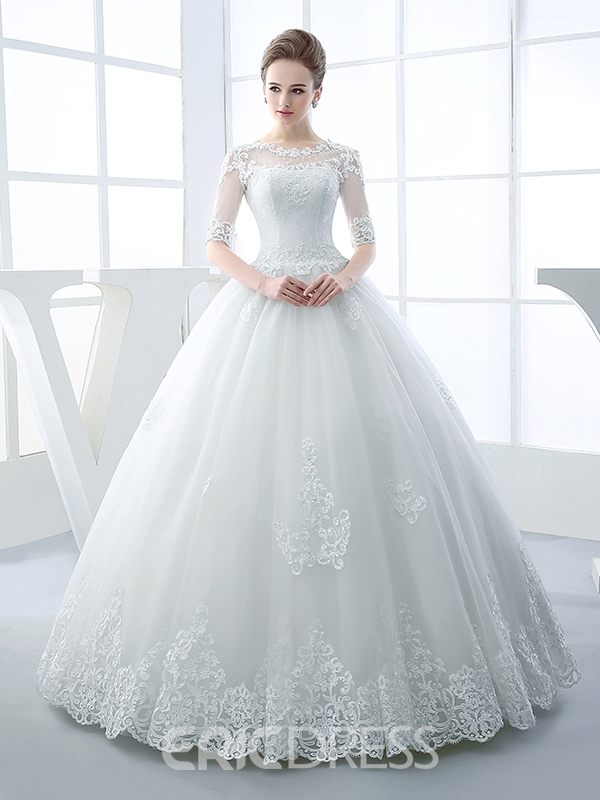 Ericdress Beautiful Illusion Neckline Ball Gown Princess Wedding ...