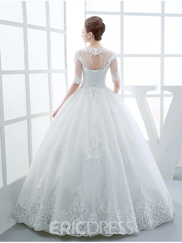Ericdress Beautiful Illusion Neckline Ball Gown Princess Wedding Dress