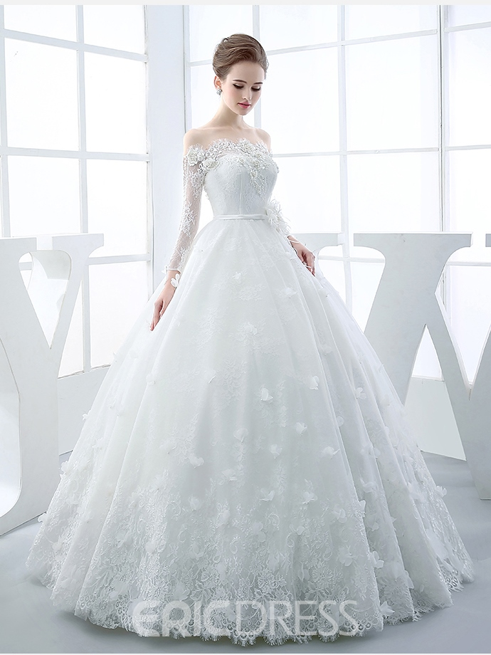 Ericdress stunning off the shoulder long sleeves lace ball for Off the shoulder ball gown wedding dress