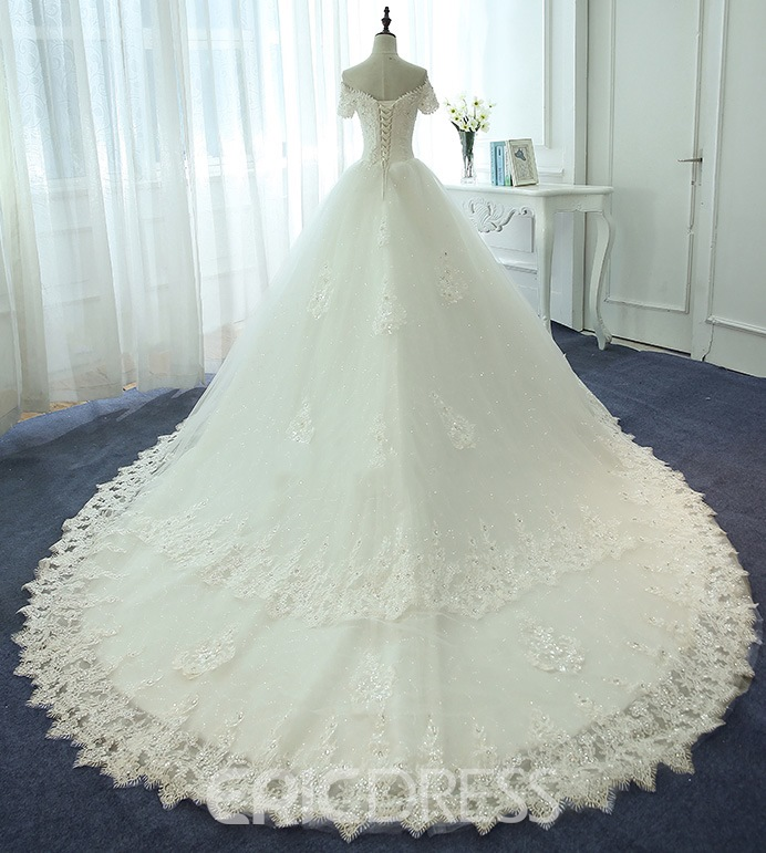 Ericdress Lace Ball Gown Off The Shoulder Beaded Wedding Dress