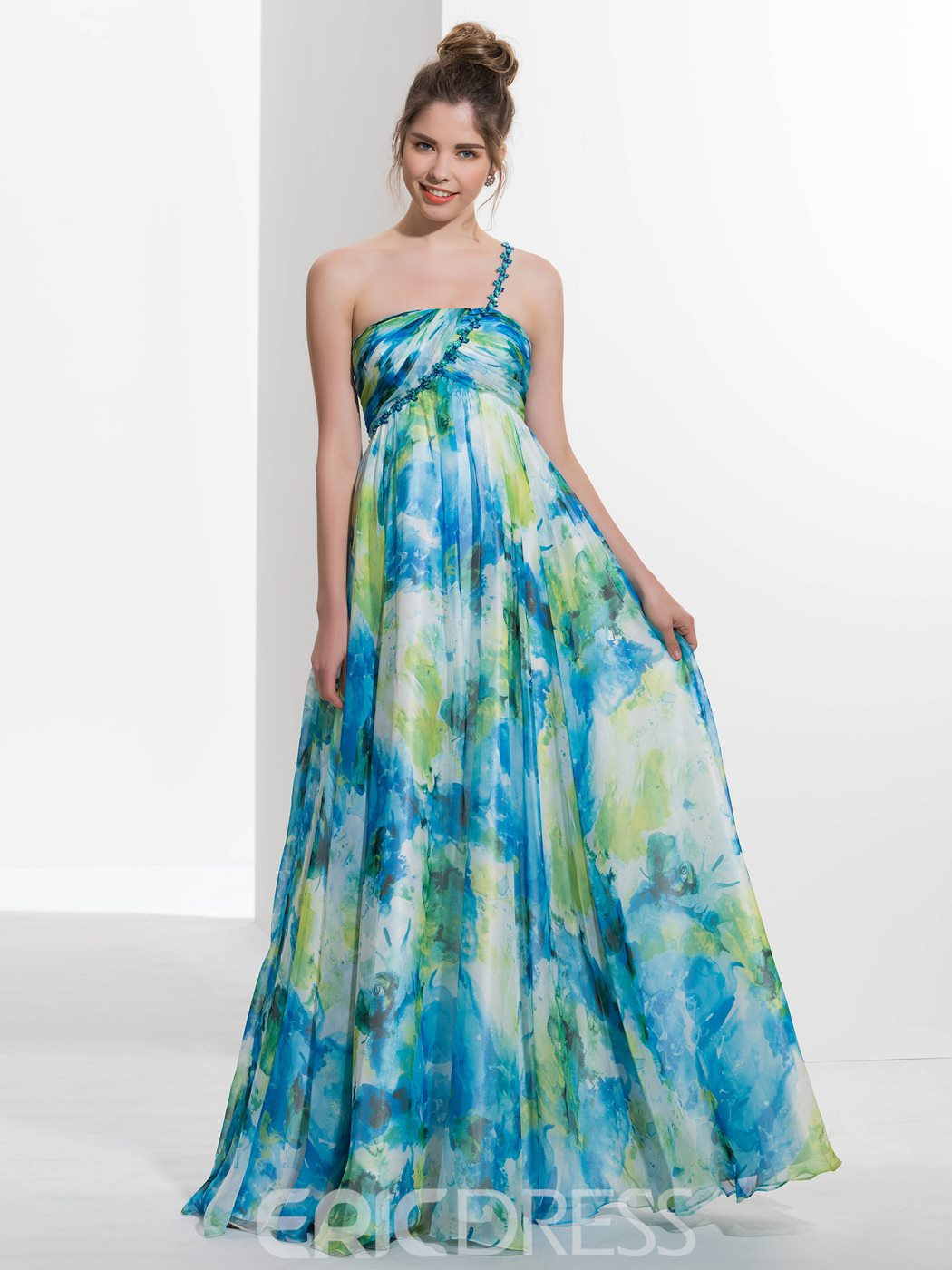 Ericdress One-Shoulder A-Line Beading Printed Long Prom Dress