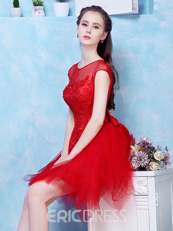 Ericdress A-Line Scoop Cap Sleeves Beading Bowknot Short Homecoming Dress