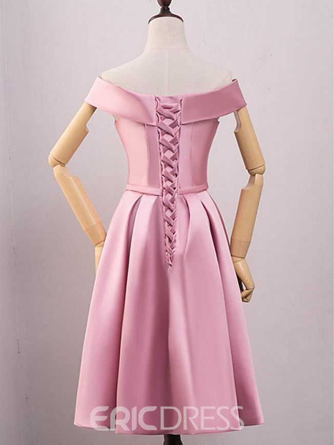 Ericdress A-Line Off-the-Shoulder Bowknot Sashes Short Homecoming Dress