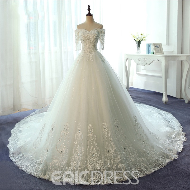 Ericdress Elegant Off The Shoulder Ball Gown Lace Wedding Dress With Sleeves