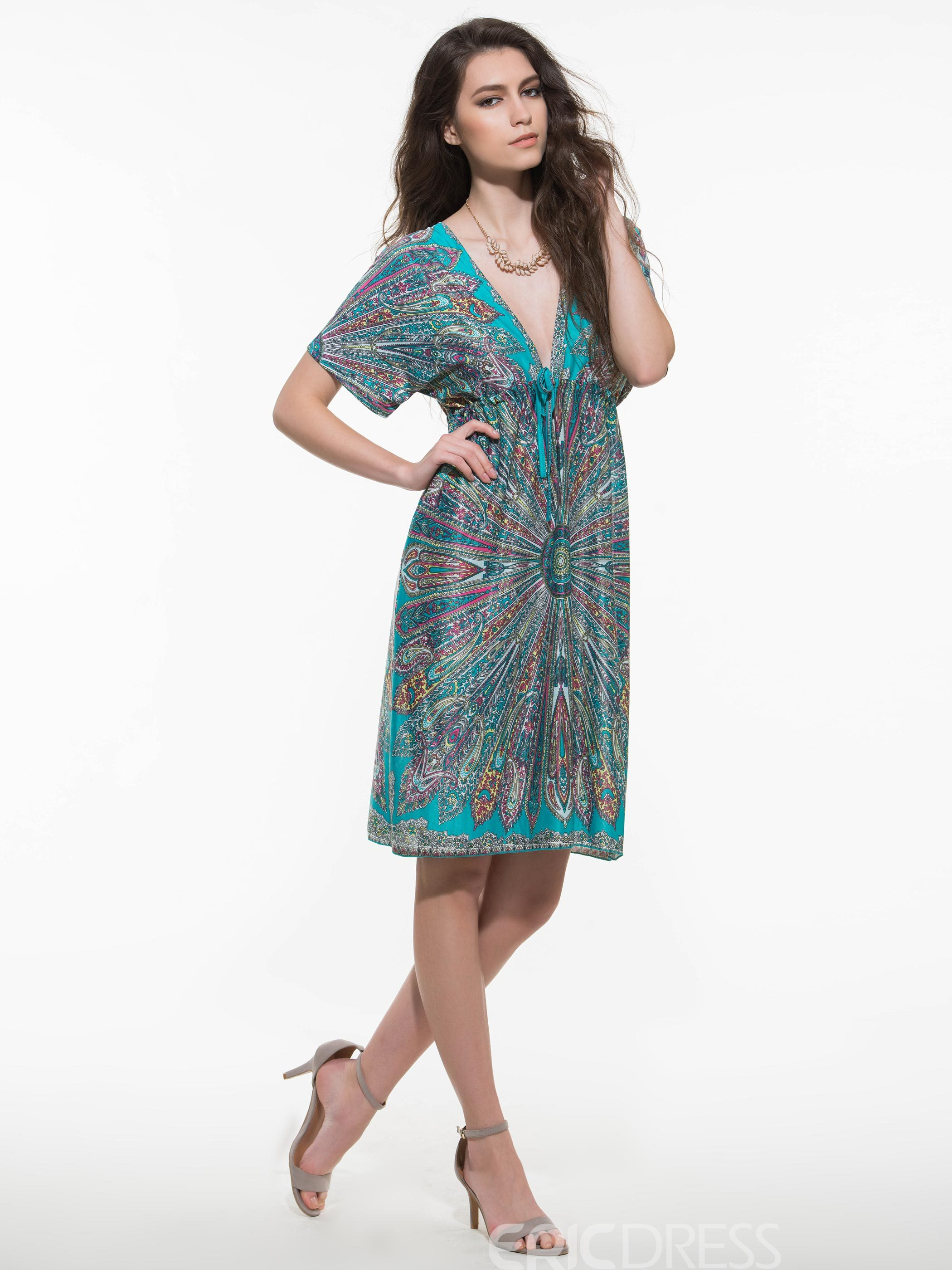Ericdress Bohemian Style Floral Print V-Neck Batwing ...