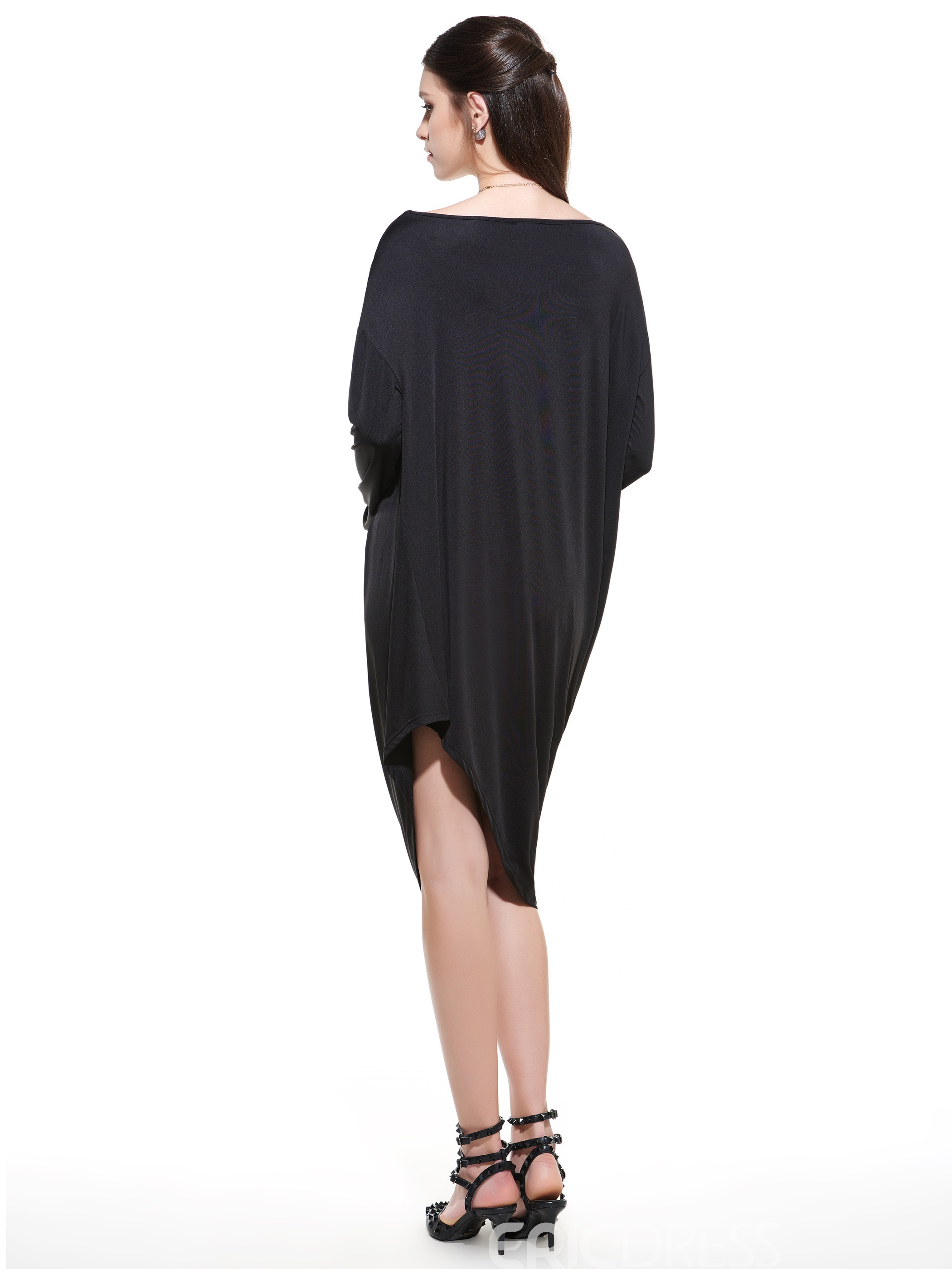 Ericdress Plain Asymmetric Batwing Sleeve Casual Dress